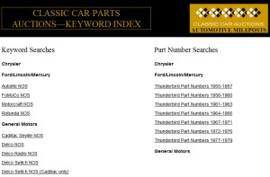 Image: Classic Car Parts Auctions Keyword Search page screen shot