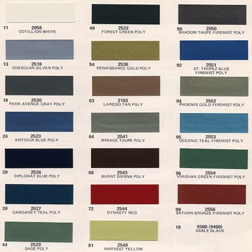 Image: 1973 Cadillac paint color chips