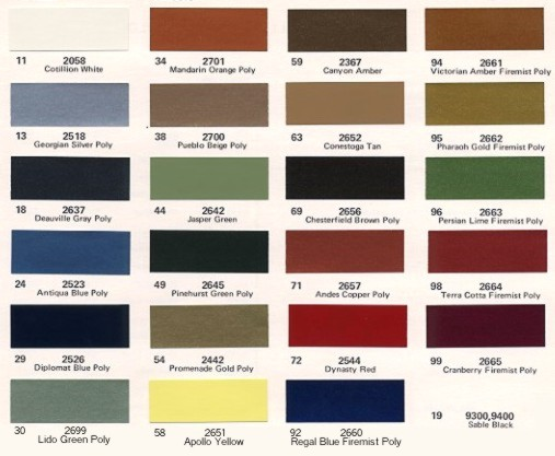 Image: 1974 Cadillac paint color chips