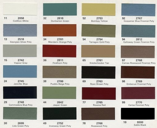 Image: 1975 Cadillac paint color chips