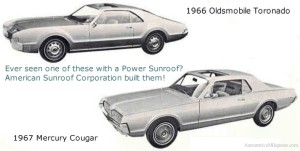 Image: 1966 Oldsmobile Toronado and 1967 Mercury Cougar with Power Sunroofs