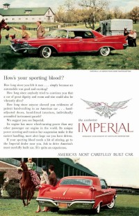 Image: 1960 Imperial advertisement featuring Regal Red LeBaron Four-Door Southampton