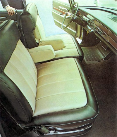 1966 Imperial Crown Four Door Green Leather Bolsters and Gold Fabric Inserts (code M7G) (click for larger detailed image)