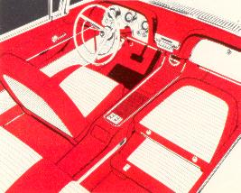 1958 Ford Thunderbird Convertible interior shown in Red and White Vinyl