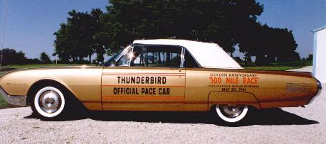 1961 Ford Thunderbird Convertible (restored with Official Pace Car graphics; shown with top up)