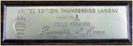 Limited Edition Landau engraved plaque