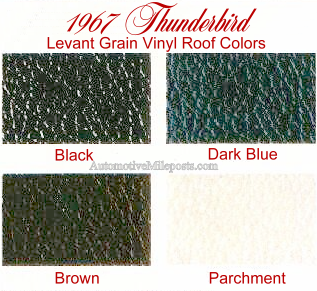 1967 Ford Thunderbird Landau vinyl roof colors (black, dark blue, brown, and parchment)