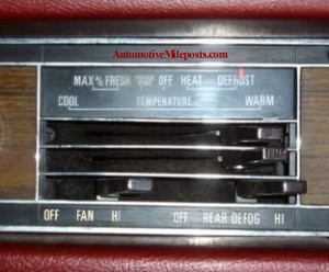 thunderbird rear window defogger instrument panel control