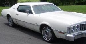 Exterior view of 1973 Thunderbird without vinyl roof or opera windows