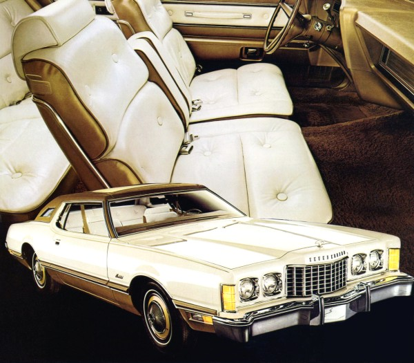 Image: 1974 Ford Thunderbird with White and Gold Luxury Group option