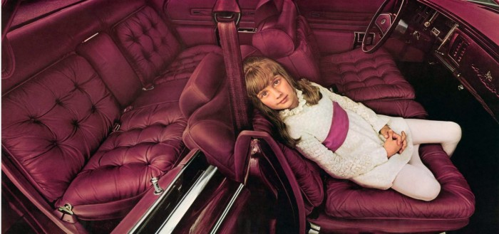 Image: 1975 Imperial LeBaron interior shown in Dark Red Leather