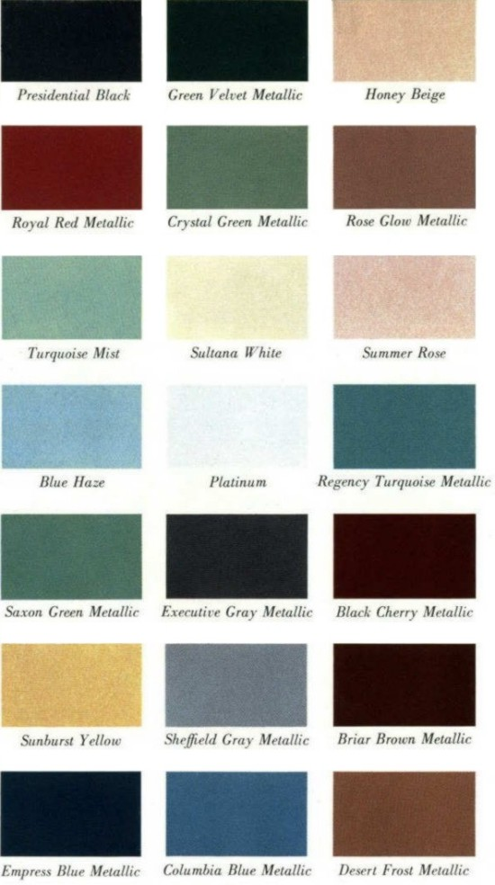 Image 1961 Lincoln Continental Color Chips