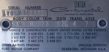 1961 Lincoln Continental Production Numbers Specifications