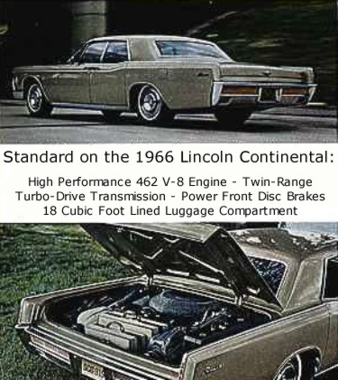 Left: Standard equipment on every 1966 Lincoln Continental included a full