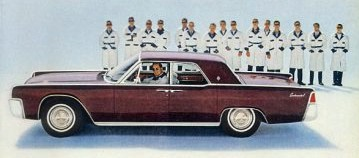 1963 Lincoln Continental with road test inspection team