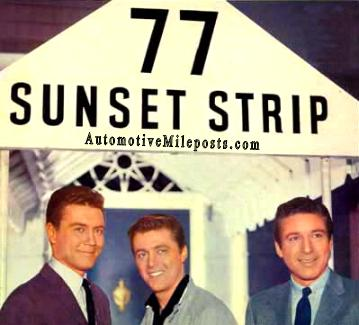 Image: Roger Smith, Edd Byrnes, and Efrem Zimbalist, Jr. posed in front of 77 Sunset Strip door