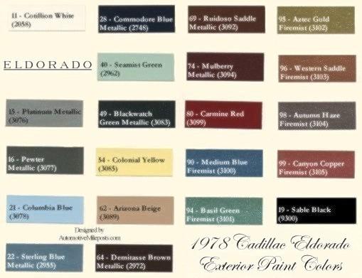 1978 Cadillac Eldorado Paint Codes