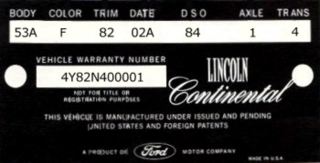 1964 Lincoln Continental Production Numbers Specifications