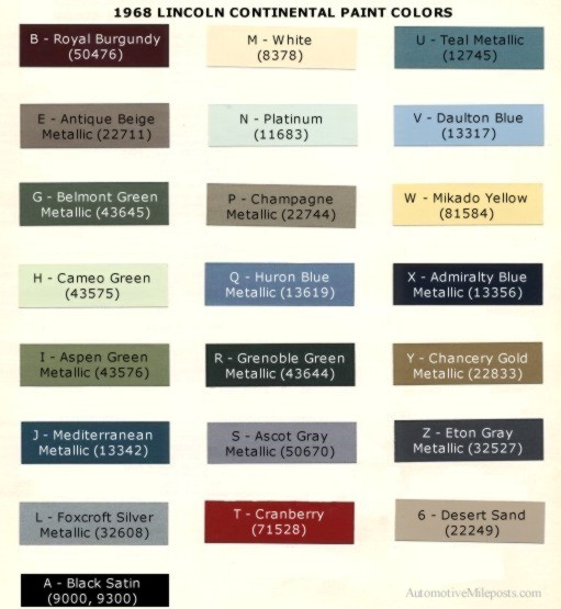 1968 Lincoln Continental Paint Codes